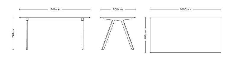 Hay Copenhague tafel CPH10 160x80