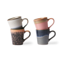 HKliving 70's Ceramic Espresso mok set van 4