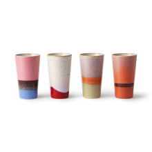 HKliving 70's ceramic latte mokken set van 4