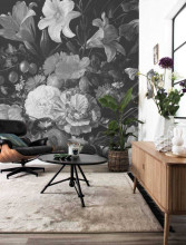 KEK Amsterdam Golden Age Flowers zwart wit behang