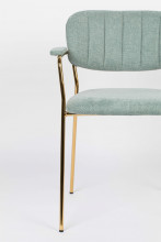 Livingstone Design Parton Eetkamerstoel goud onderstel met armleuningen
