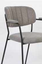 Livingstone Design Parton Eetkamerstoel zwart onderstel met armleuningen