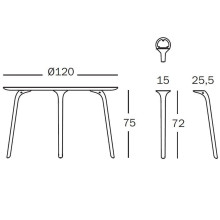 Magis Table First tuintafel rond 120 Outdoor