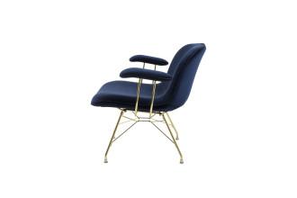 Magis Troy fauteuil met armleuning goud onderstel donkerblauw
