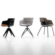 MDF Italia Flow Slim Armchair stoel zwart met stalen onderstel