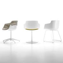 MDF Italia Flow Slim Armchair stoel wit met slede onderstel