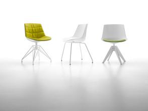 MDF Italia Flow Chair stoel wit met stalen onderstel