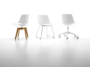 MDF Italia Flow Chair stoel wit met slede onderstel