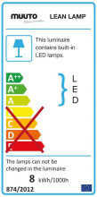 Muuto Lean wandlamp LED