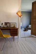 Northern Oslo Wood vloerlamp goud onderstel