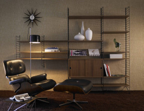 String Furniture Hoge kast large, zwart