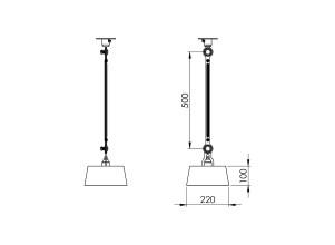 Tonone Bolt Underfit 1 arm plafondlamp met stekker