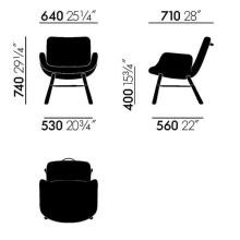 Vitra East River Chair fauteuil met donker eiken onderstel