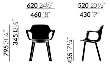 Vitra Hal Armchair Wood stoel notenhout onderstel