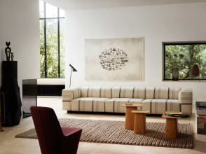 Vitra Soft Modular Sofa bank 2-zits Aura Stripes lage armleuning