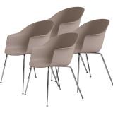 Gubi Bat Dining Conic stoel, chrome base (set van 4)