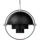 Gubi Multi-Lite hanglamp small, chrome base, zwart semi matt