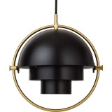Gubi Multi-Lite hanglamp small, brass base, zwart semi matt
