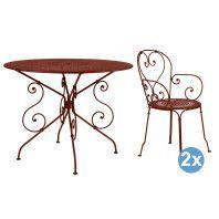 Fermob 1900 tuinset 96 tafel + 2 stoelen (armchair)