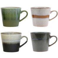HKliving 70's Ceramic cappuccino kopje set van 4