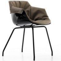 MDF Italia Flow Slim Chair XL gestoffeerde stoel met stalen onderstel