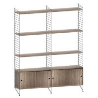 String Furniture Hoge kast medium, zwart/walnoot