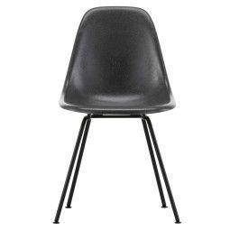 Vitra Tweedekansje - Eames DSX Fiberglass stoel zwart, elephant hide grey