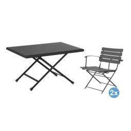 Emu Arc en Ciel 70x50 salontafel + 2 loungestoelen