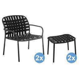 Emu Yard Lounge fauteuils + 2 voetenbanken