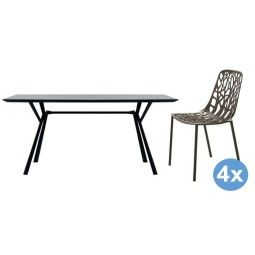 Fast Radice Quadra tuinset 150x90 tafel + 4 stoelen (chair)