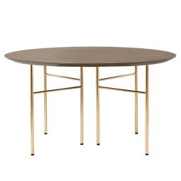 Ferm Living Mingle tafel rond 130 dark stained oak, messing onderstel