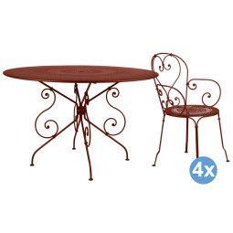 Fermob 1900 tuinset 117 tafel + 4 stoelen (armchair)