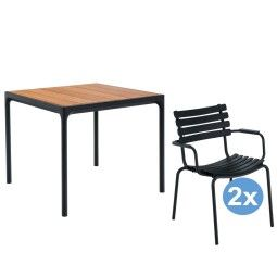 Houe Four tuinset 90x90 tafel + 2 stoelen (armchair)