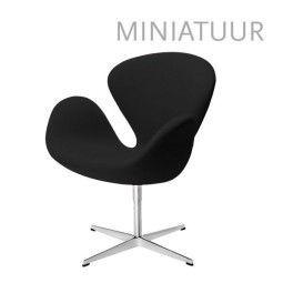 Fritz Hansen Tweedekansje - Swan Chair miniatuur zwart