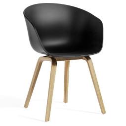 Hay About a Chair AAC22 ECO stoel met gelakt onderstel zwart
