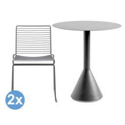 Hay Palissade tuinset Cone tuintafel 70 + 2 Hee dining stoelen