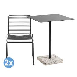 Hay Tuinset Terrazzo Square tuintafel + 2 Hee Dining stoelen