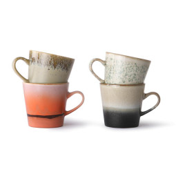 HKliving 70's Ceramic Americano mokken set van 4