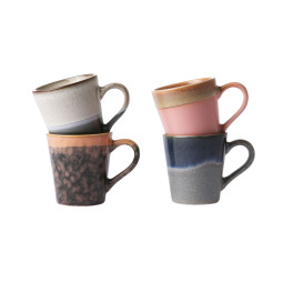 HKliving 70's Ceramic Espresso mok set van 4