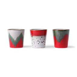 HKliving 70's Ceramic The Christmas T(h)ree mok set van 3