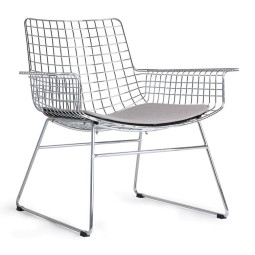 HKliving Wire fauteuil chrome met kussen