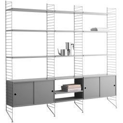 String Furniture Hoge kast 2 large, grijs