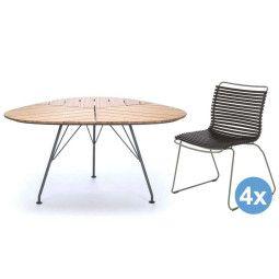 Houe Leaf tuinset tafel 146cm + 4 stoelen