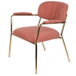 Livingstone Design Parton Fauteuil goud onderstel met armleuningen