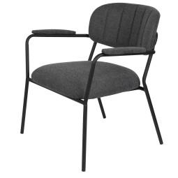 Livingstone Design Parton Fauteuil zwart onderstel met armleuningen