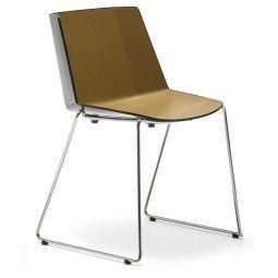 MDF Italia Aïku Sled stoel zonder armleuning, verchroomd onderstel