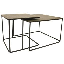 HKliving Tweedekansje - Metal Brass salontafel set van 2
