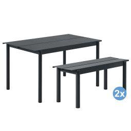 Muuto Linear tuinset tafel 140x75 + 2 banken