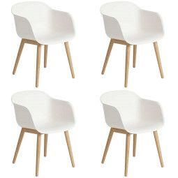Muuto Set aanbieding Fiber Wood stoel (4x)
