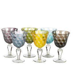 Pols Potten Multicolour Blocks wijnglas 6 stuks